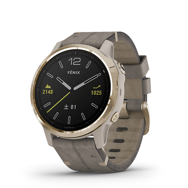 fēnix 6S Sapphire Tundra Light Gold Leather band
