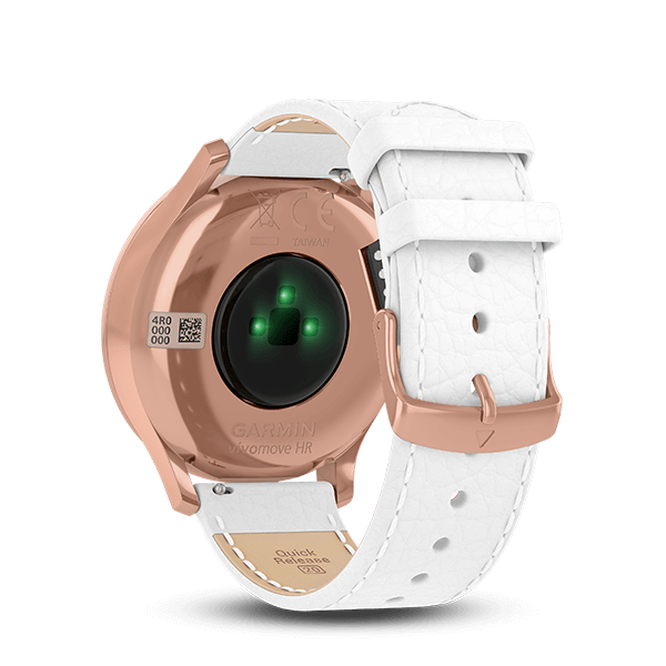 vívomove HR Rose Gold White Leather