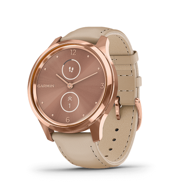 vívomove Luxe Light Sand Leather / 18K Rose Gold PVD